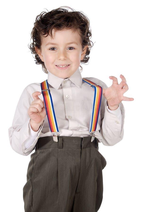 Menino com suspenders foto de stock royalty free