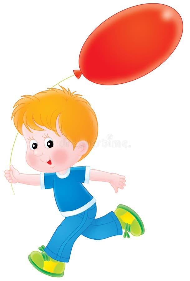 Menino com um balão vermelho ilustração do vetor