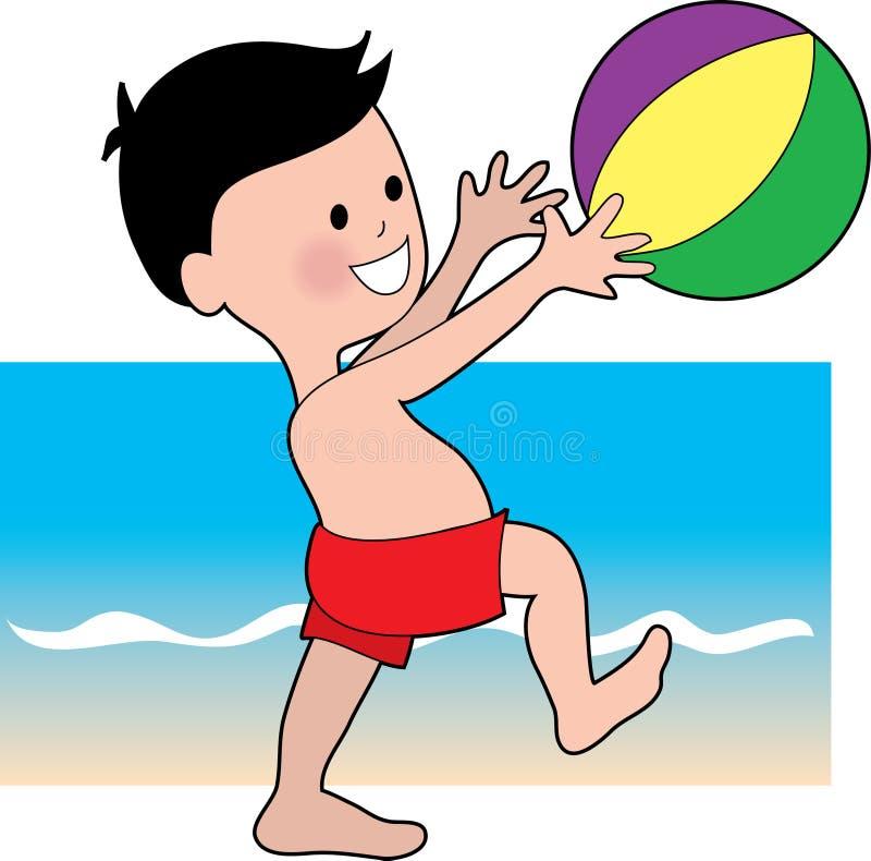 Menino com um Bal da praia ilustração stock