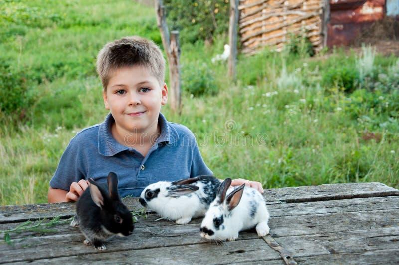 Menino com um coelho no jardim foto de stock