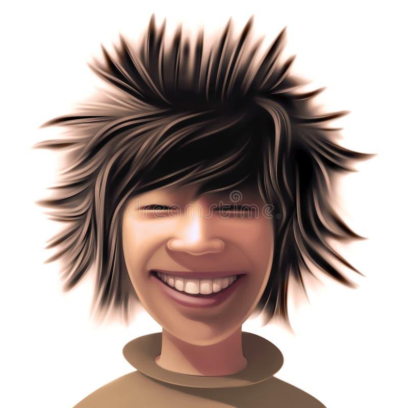 Menino com um estilo de cabelo selvagem ilustração do vetor