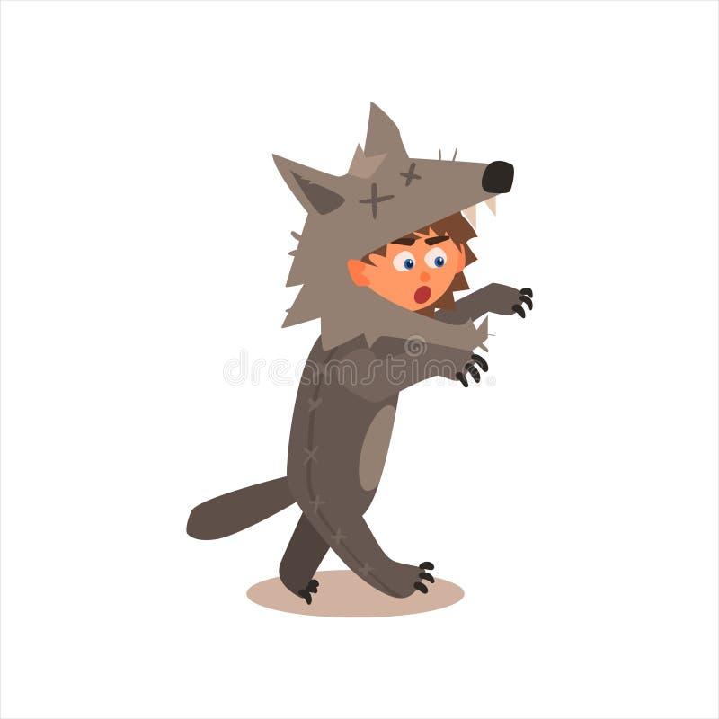Menino como o lobo ilustração do vetor