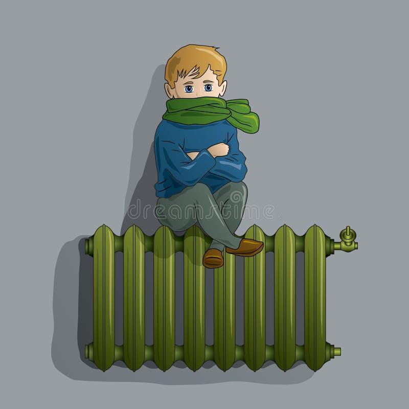 Menino congelado em um radiador velho ilustração royalty free