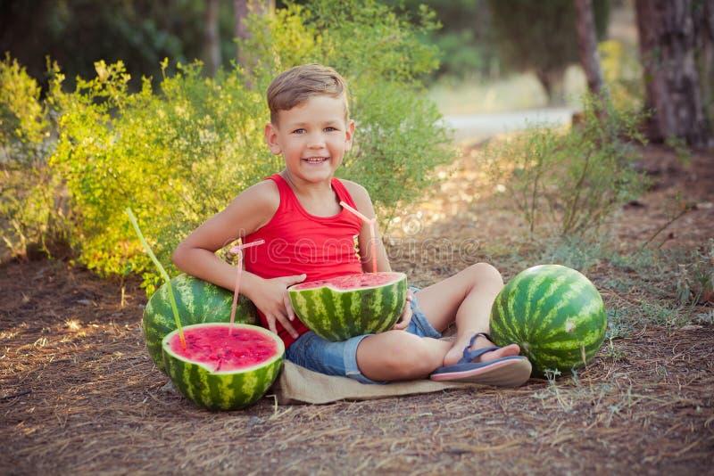 Menino considerável bonito com olhos azuis com as melancias nas horas de verão fotografia de stock royalty free
