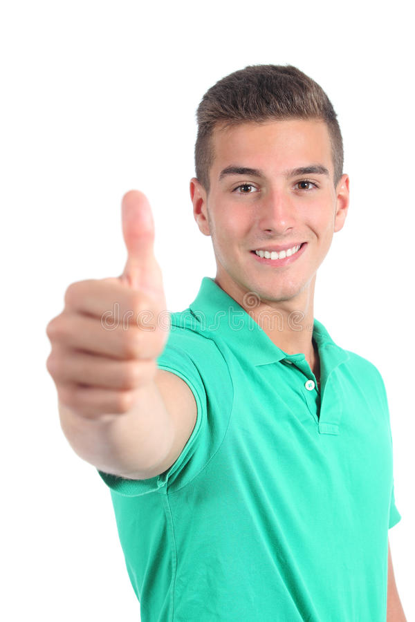 Menino considerável do adolescente com o polegar isolado acima fotografia de stock