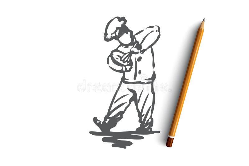 Menino, cozinheiro, chicotes, massa, conceito do padeiro Vetor isolado tirado mão ilustração do vetor