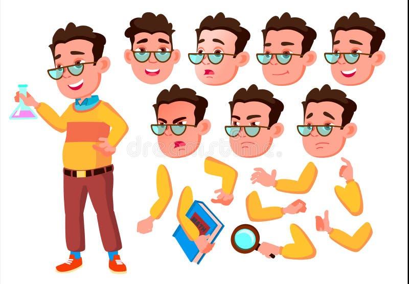 Menino, criança, criança, vetor adolescente escolar novo Emoções da cara, vários gestos Grupo da criação da animação Plano isolad ilustração stock