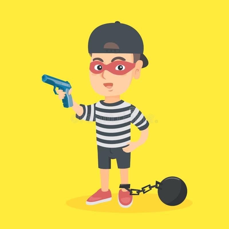 Menino criminoso caucasiano que guarda uma arma ilustração do vetor