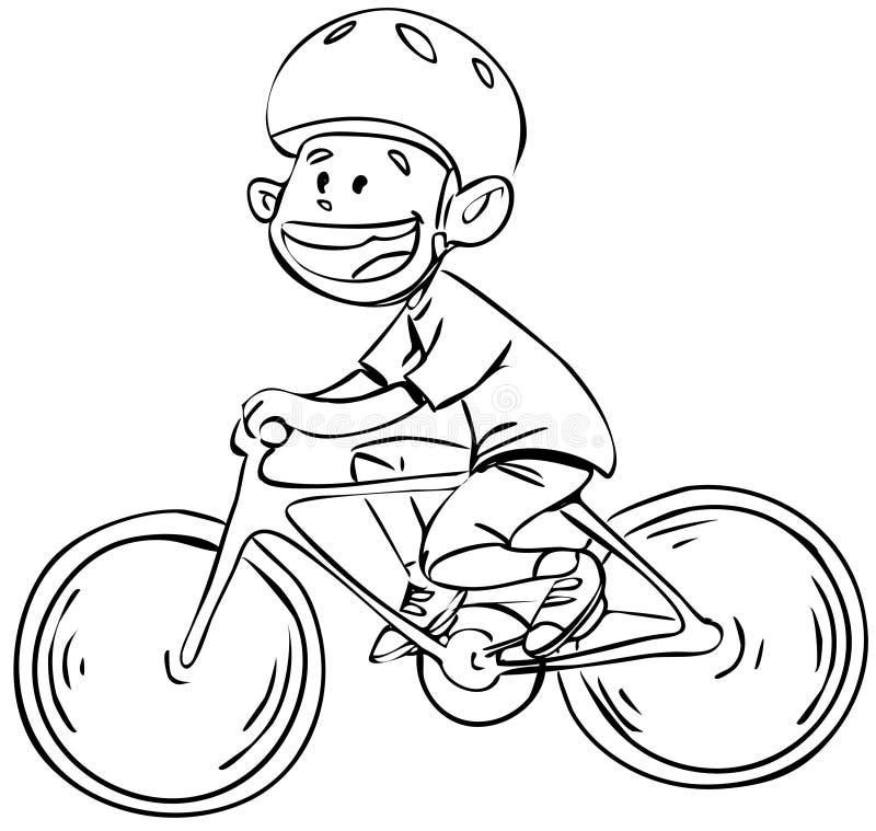 Menino da bicicleta em preto e branco ilustração stock