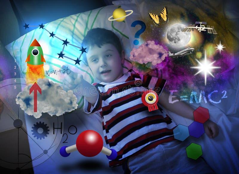 Menino da ciência que explora e que aprende o espaço ilustração royalty free