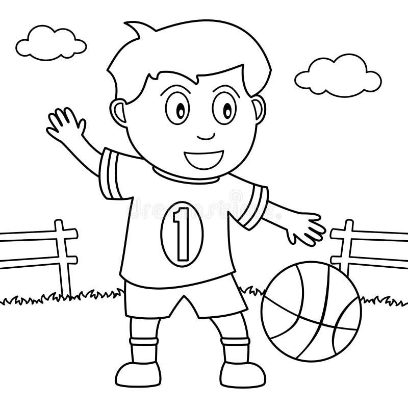 Menino da coloração que joga o basquetebol no parque ilustração stock