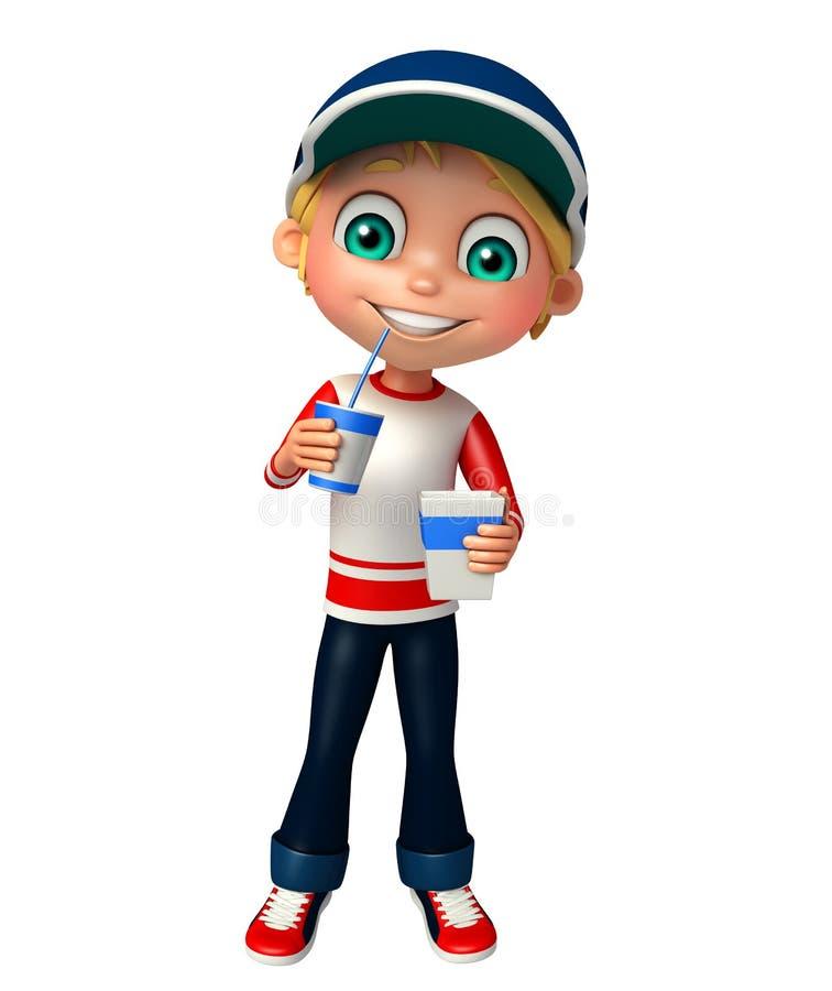 Menino da criança com casco ilustração royalty free
