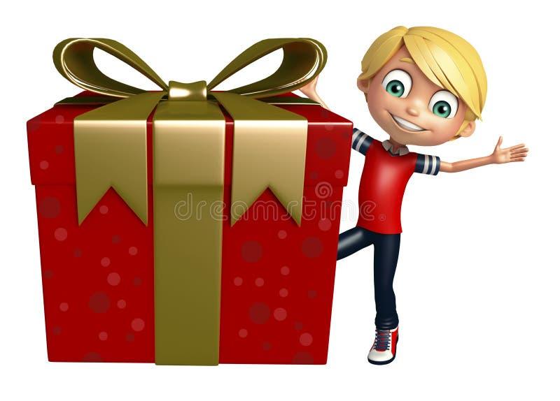 Menino da criança com giftbox ilustração do vetor