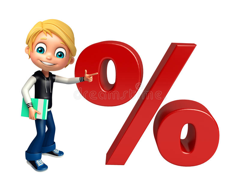 Menino da criança com o livro do sinal de porcentagem ilustração stock