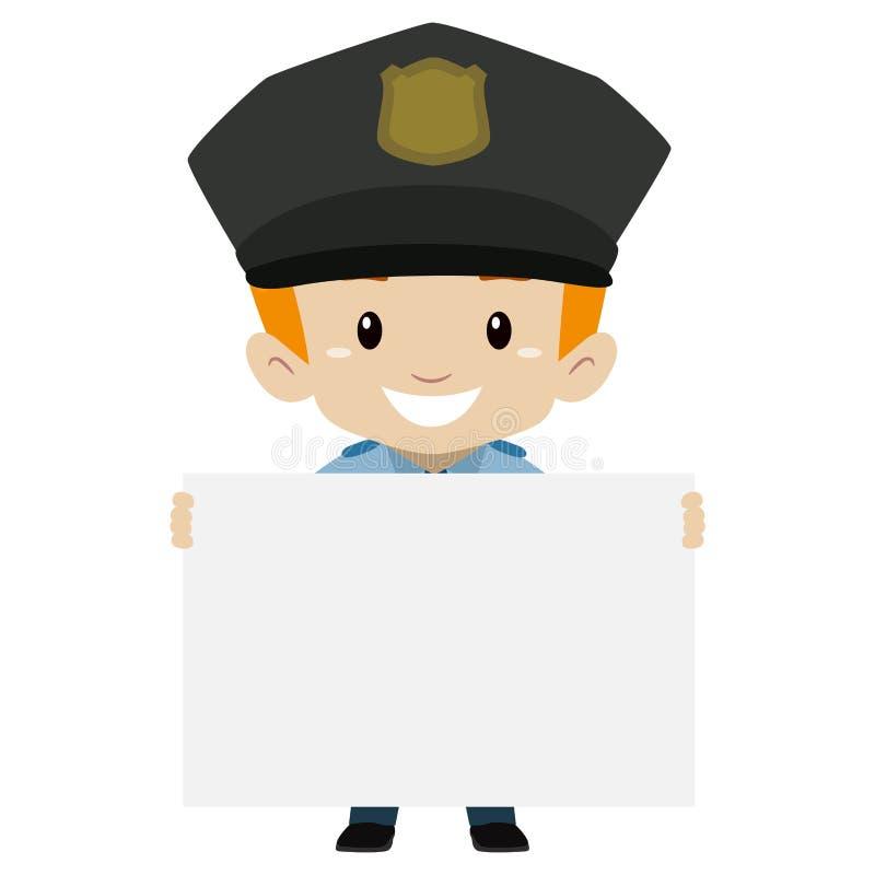 Menino da criança do polícia que guarda uma placa vazia ilustração royalty free