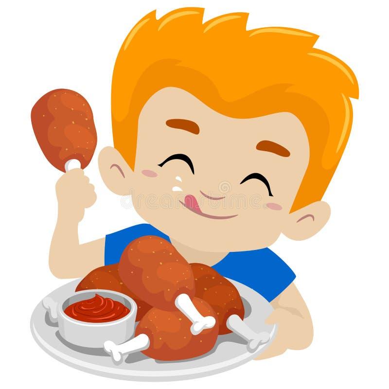 Menino da criança que come Fried Chicken ilustração do vetor