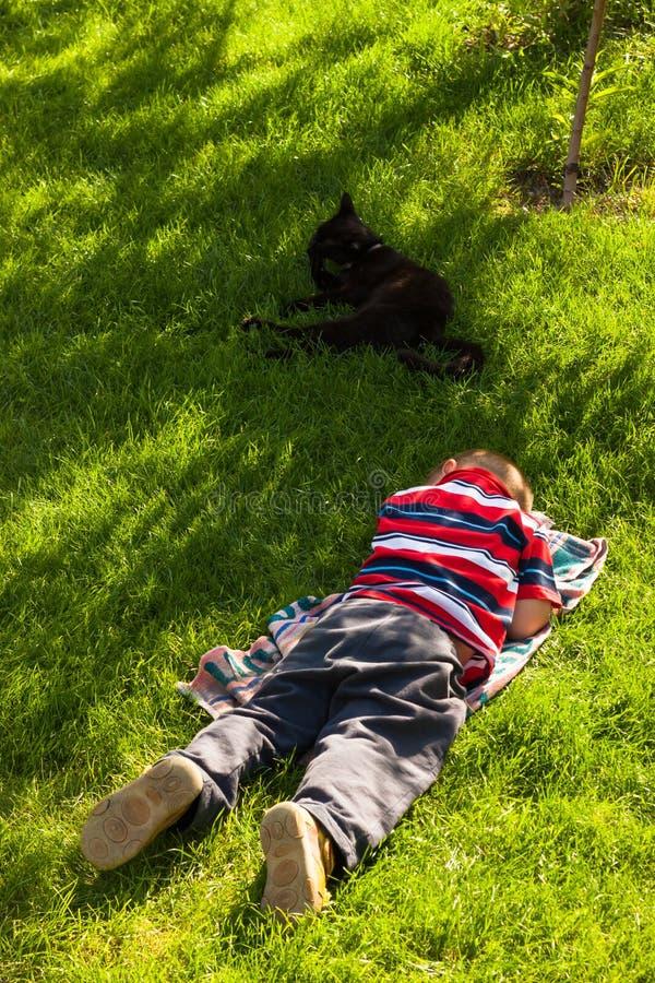 Menino da criança que dorme na grama fotos de stock