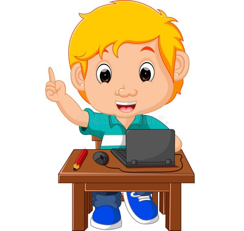 Menino da criança que usa os desenhos animados do computador ilustração stock