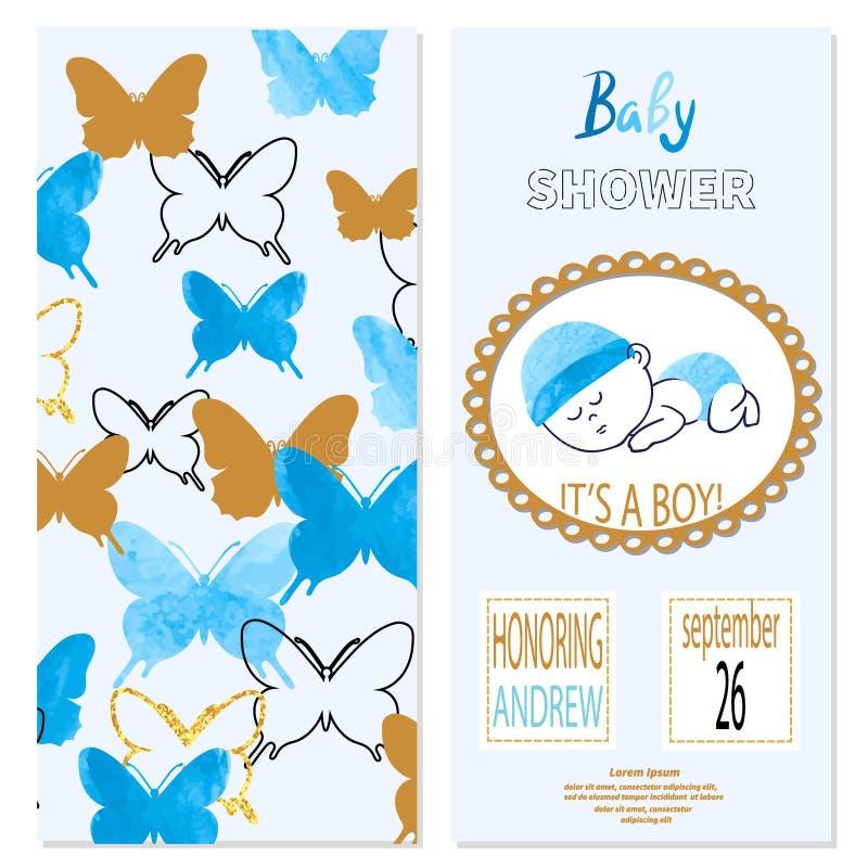 Menino da festa do bebê Vector o projeto de cartão do convite com o bebê bonito dos desenhos animados ilustração stock