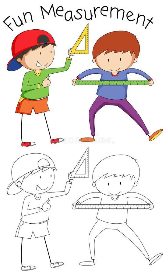 Menino da garatuja com ferramentas da matemática ilustração do vetor