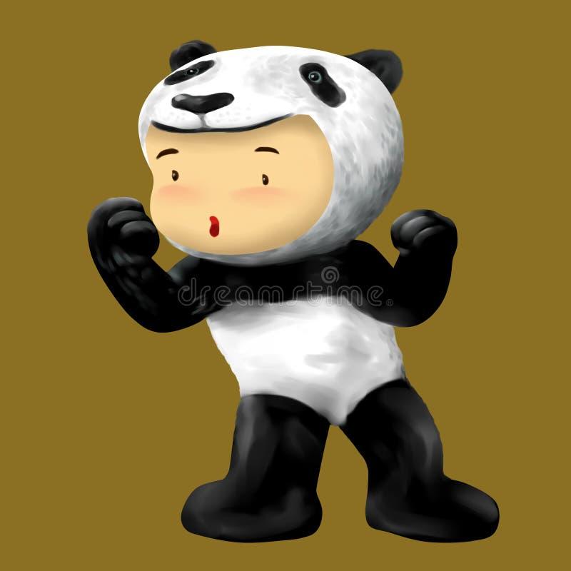 Menino da panda, vestidos da criança em kungfu ativo do traje da panda gigante ilustração royalty free