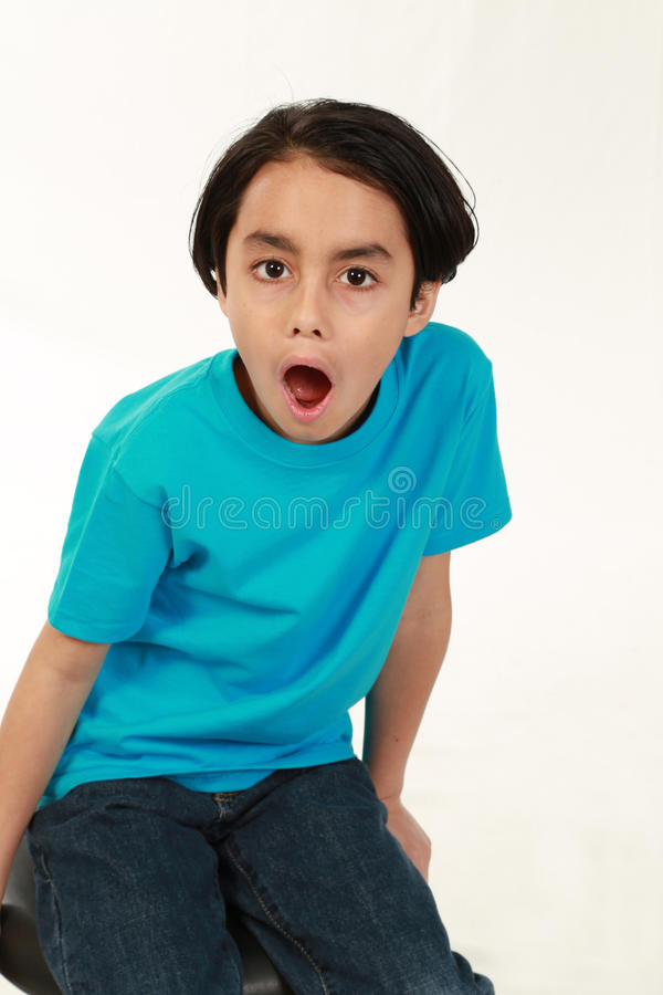 Menino da raça misturada Shocked fotos de stock royalty free