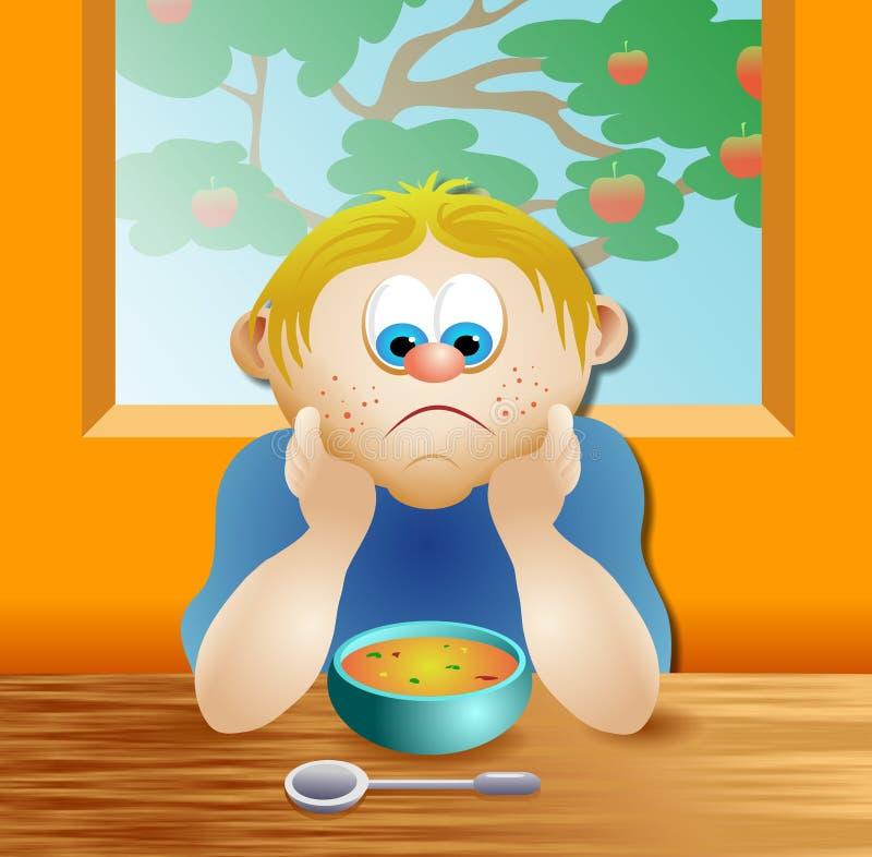 Menino da sopa ilustração stock