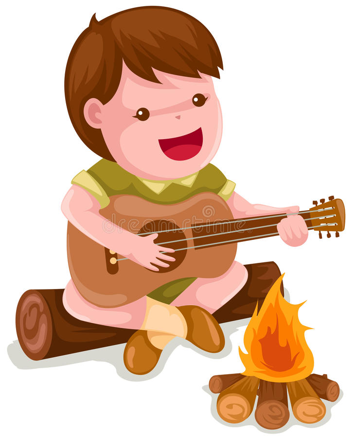 Menino de acampamento que joga a guitarra ilustração royalty free