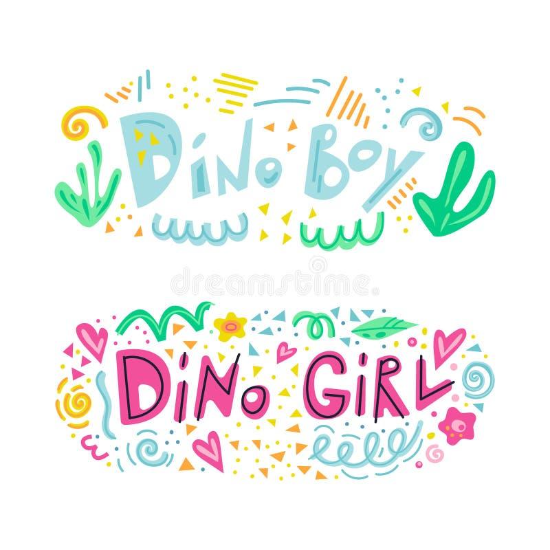 Menino de Dino e de menina de Dino frase da rotulação ilustração stock