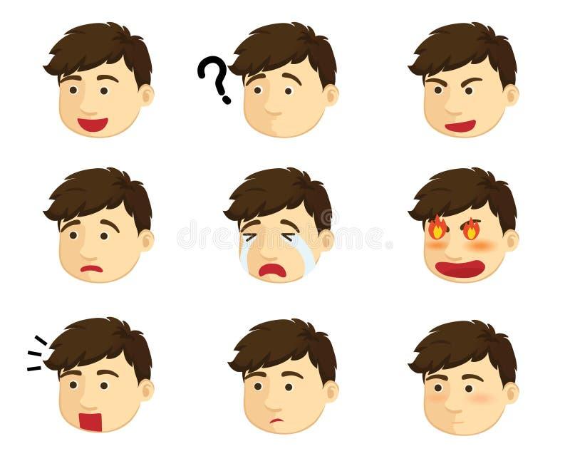 Menino de emoções diferentes ilustração royalty free