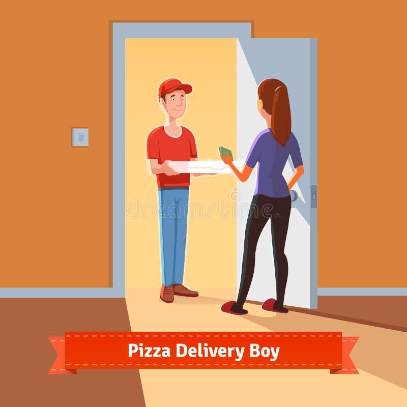Menino de entrega da pizza que entrega a caixa da pizza a uma menina ilustração do vetor