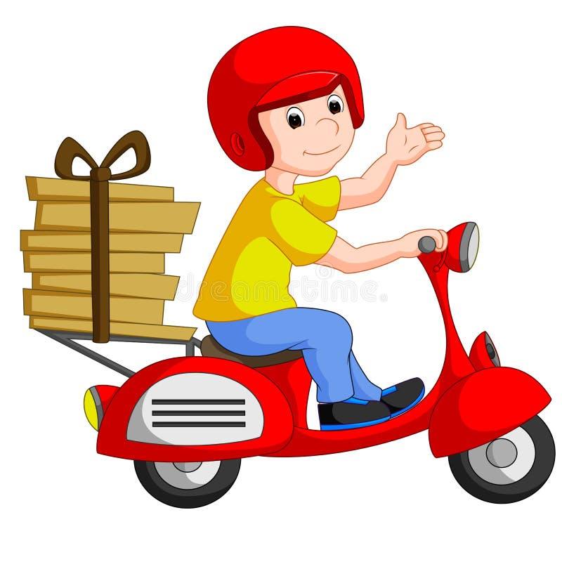 Menino de entrega engraçado da pizza que monta a bicicleta vermelha do motor ilustração stock