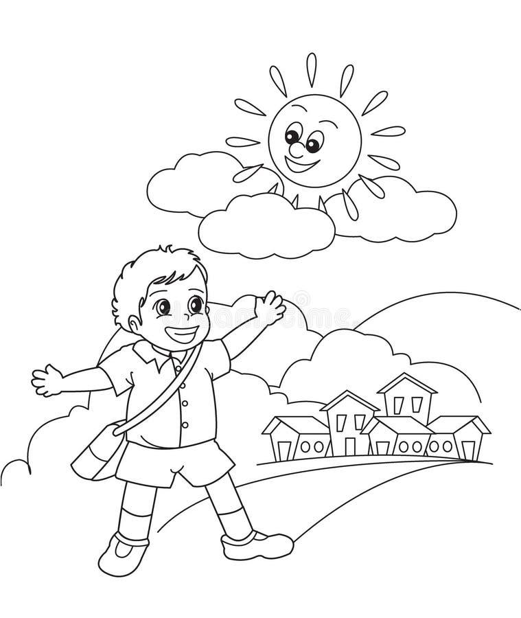 Menino de escola ilustração royalty free