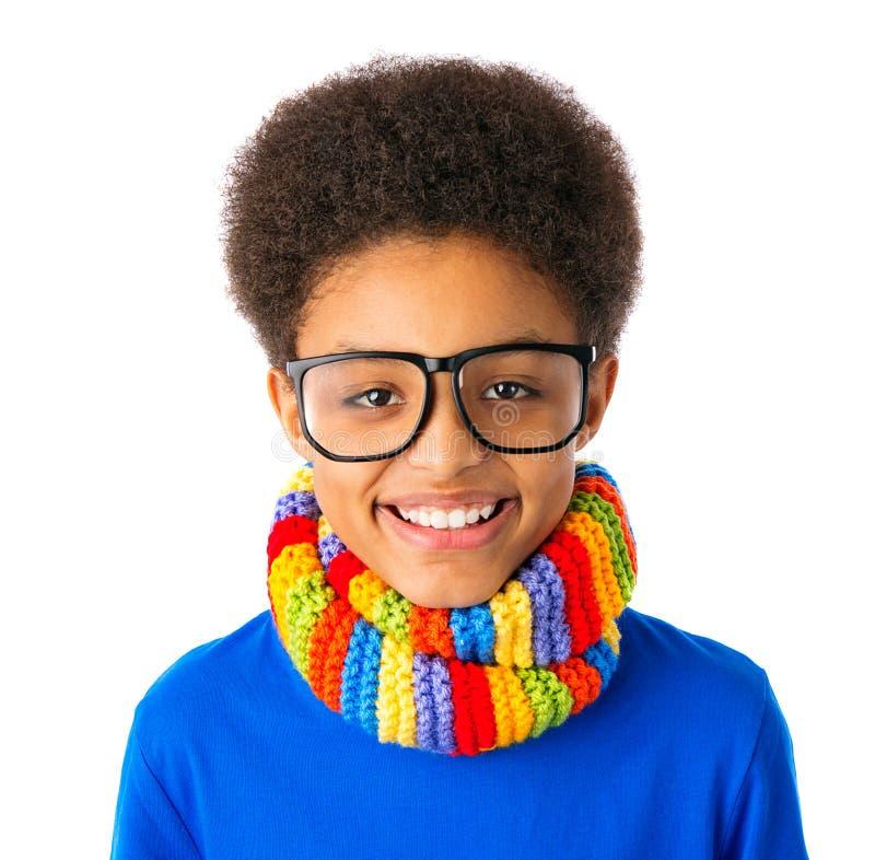 Menino de escola afro-americano feliz foto de stock