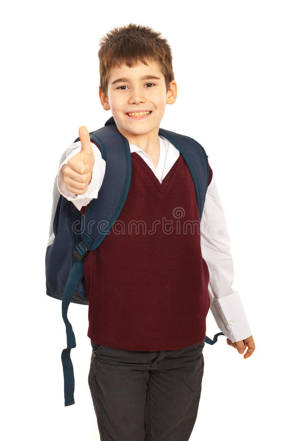 Menino de escola bem sucedido foto de stock