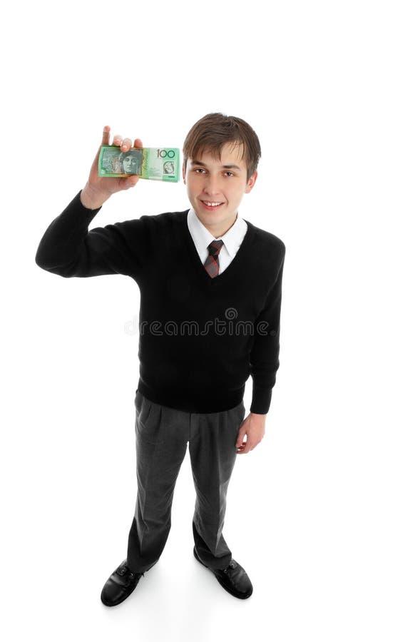 Menino de escola com dinheiro do dinheiro foto de stock royalty free