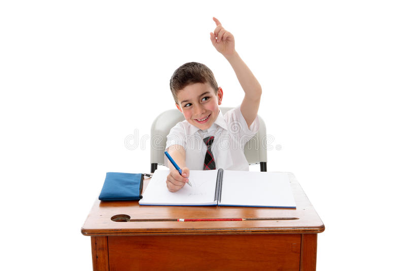 Menino de escola com pergunta ou resposta fotos de stock