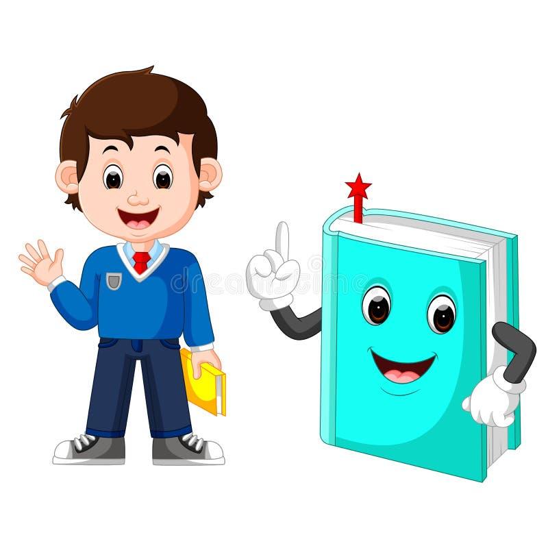 Menino de escola com um livro gigante ilustração do vetor