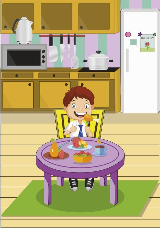 Menino de escola dos desenhos animados que come o almoço que senta-se na tabela na cozinha Ilustração do vetor ilustração stock