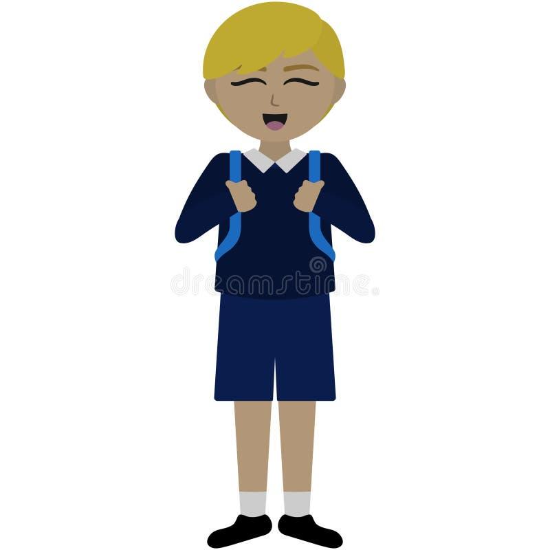 Menino de escola feliz na ilustração uniforme ilustração do vetor