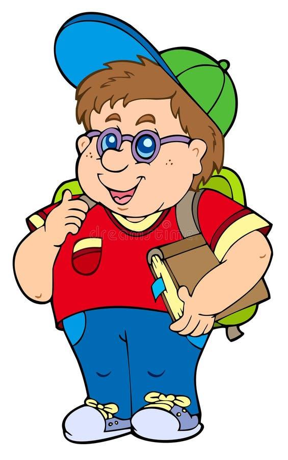 Menino de escola gordo ilustração royalty free