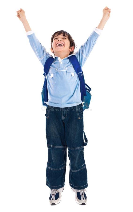 Menino de escola muito feliz imagem de stock royalty free