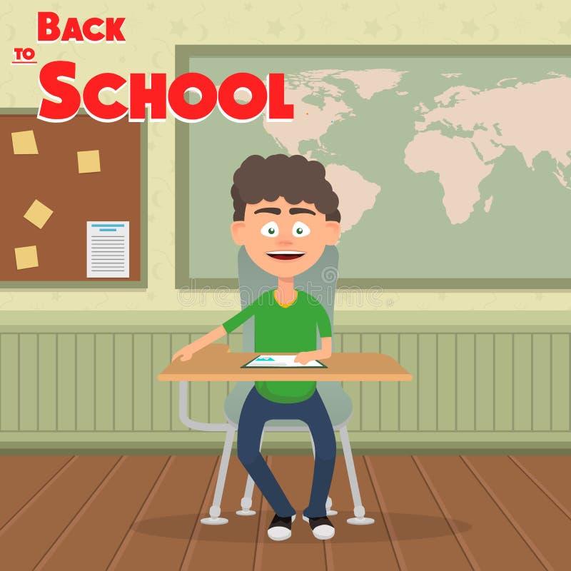 Menino de escola que senta-se na lição na sala de aula Ilustração do vetor ilustração stock