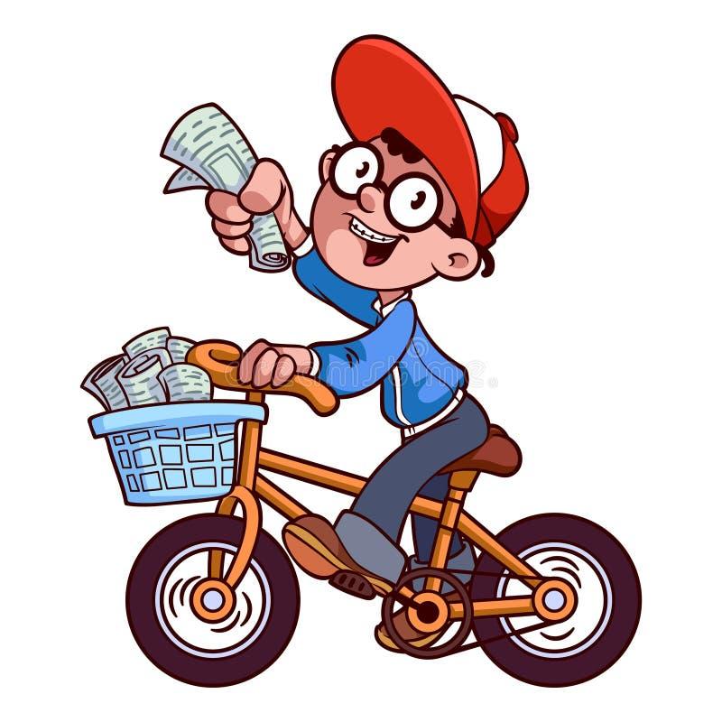 Menino de papel dos desenhos animados pela bicicleta ilustração stock