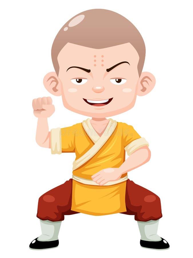 Menino De Shaolin Dos Desenhos Animados Ilustracao Do Vetor