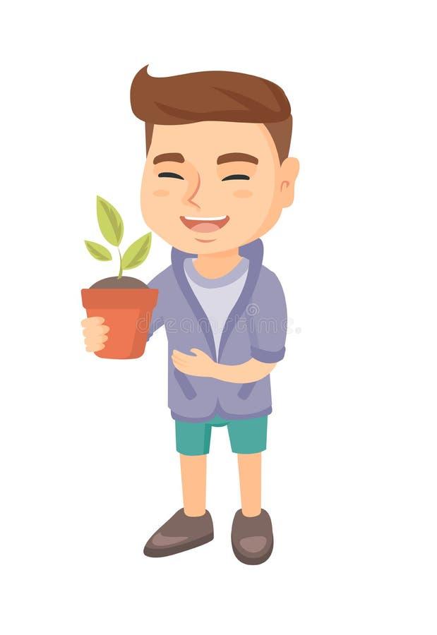 Menino de sorriso caucasiano que guarda uma planta em pasta ilustração stock