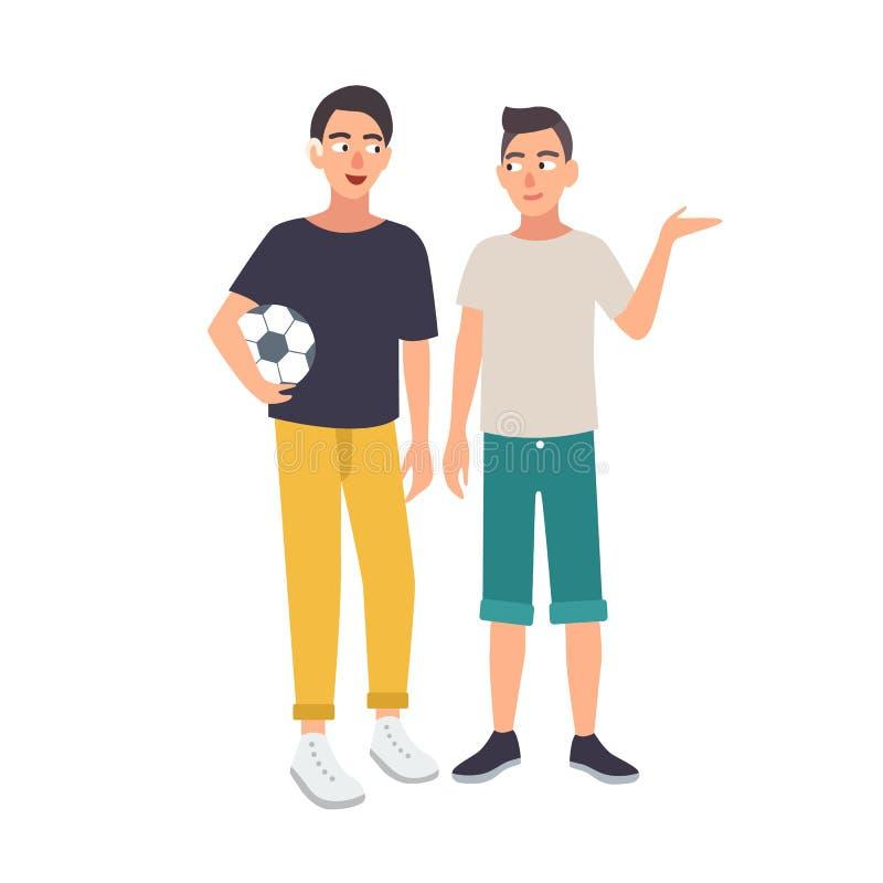 Menino de sorriso com o prejuízo de audição que guarda a bola e a posição de futebol junto com seu amigo Homem novo surdo ou ilustração royalty free
