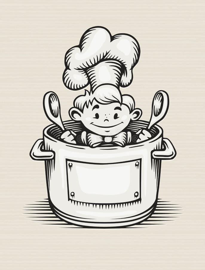 Menino de sorriso que cozinha na cozinha ilustração royalty free