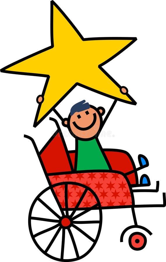 Menino deficiente da estrela ilustração royalty free