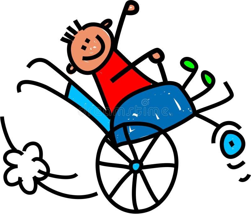 Menino deficiente de Wheely ilustração do vetor